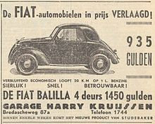 Fiat 508 Balilla, advertisement, 1939, Netherlands - Fiat Chrysler Automobiles - Wikipedia, the free encyclopedia