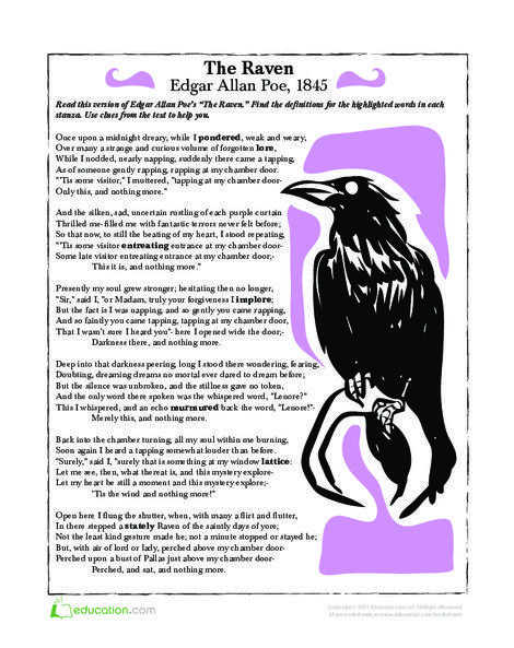 The Raven Halloween Writing Halloween Lesson Poetry For Kids