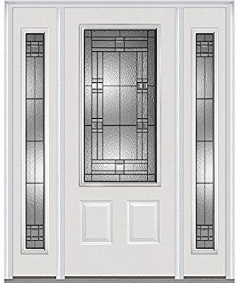 National Door Company Z021527r 3 4 Lite 2 Panel Roman Decorative Glass Fiberglass Smooth Primed 36 X80 Right Hand In Swi Front Entry Doors Front Door Mmi Door