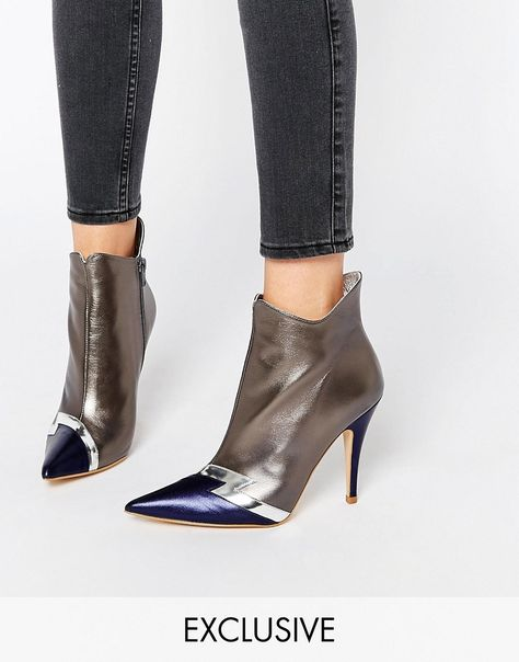 Image 1 ofTerry de Havilland Pixie Silver Heeled Ankle Boots