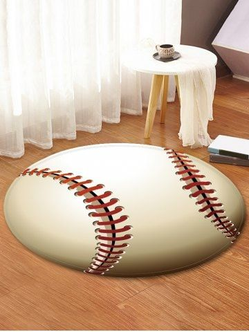 Baseball Pattern Round Area Rug Round Area Rugs Rugs On Carpet