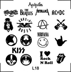 Apipila Plate L18 Rock And Roll Aerosmith Beatles Metalica Acdc