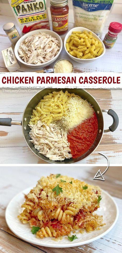 Chicken Parmesan Casserole With Pasta (Quick & Easy Dinner Recipe!)