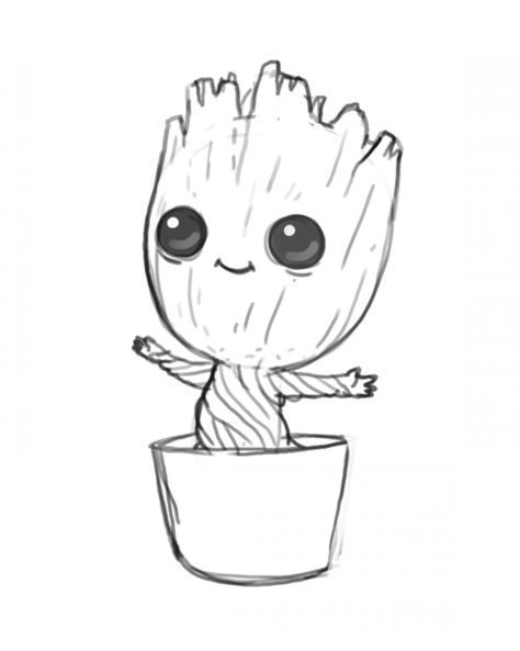 Image Result For Baby Groot Drawing My Daughters Board Baby