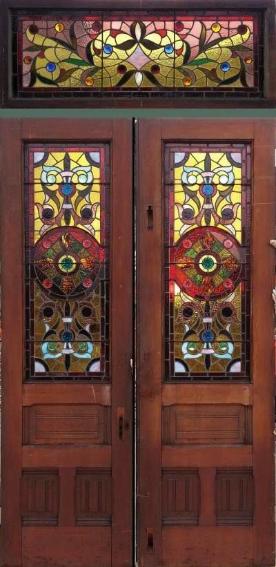 These Italianate Stained Glass Doors With A Transom Are Such Works Of Art Stained Glass Stained Glass Panels Stained Glass Door