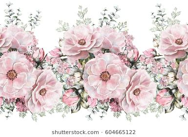 Isolated Seamless Pattern Border With Pink Flowers Leaves Vintage Watercolor Floral Pattern With Lea Watercolor Floral Pattern Floral Watercolor Pink Flowers
