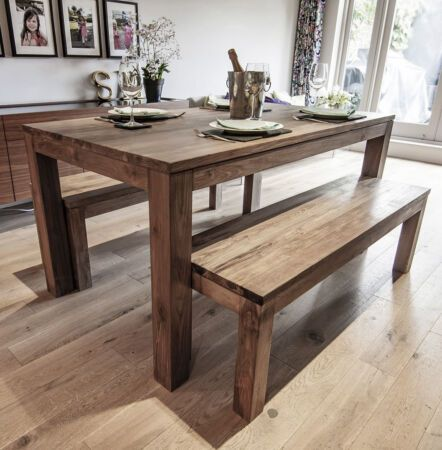 Details About Karang Reclaimed Wood Dining Table And Benches