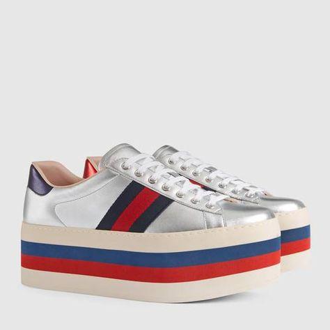 449494eb03a07 Metallic platform sneaker - Gucci Men s Sneakers 472933DXAL08164 ...