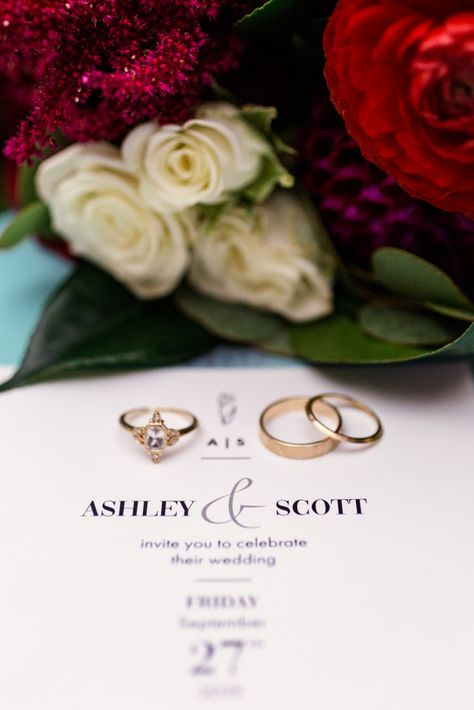 Gold rings and custom engagement ring with invitation for The Joinery Chicago wedding