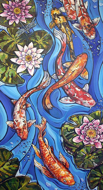 Koi Carp with Water Lilies Acrylic Painting - Acrylic Painting (Inspiration) - Art Inspo, Kunst Inspo, Painting Inspiration, Art Koi, Fish Art, Koi Painting, Silk Painting, Paintings Of Fish, Water Lilies Painting
