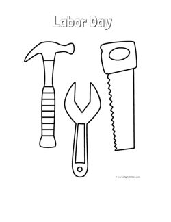 Labor Day Coloring Page With A Picture Of Tools Hammer Wrench