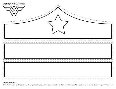 Wonder Woman Crown Printable Template Tiara Colored