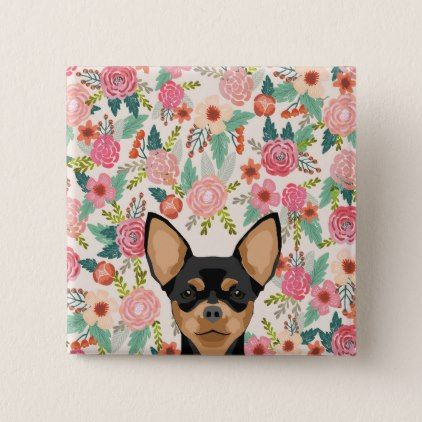 Chihuahua Button Cute Floral Dog Design Floral Style Flower