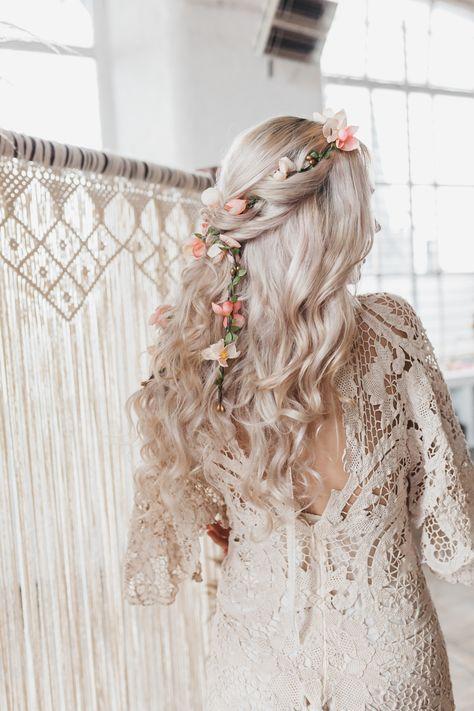 Boho Wedding Hair, Wedding Hair Down, Wedding Hair Flowers, Wedding Hairstyles For Long Hair, Dream Wedding Dresses, Flowers In Hair, Whimsical Wedding Hair, Silk Flowers, Flower Crown Wedding