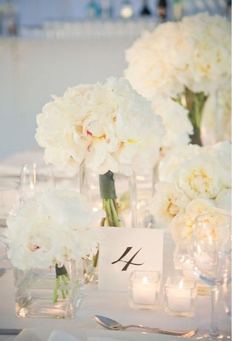 Tiffany blue and white centerpieces | White Flowers & centerpieces