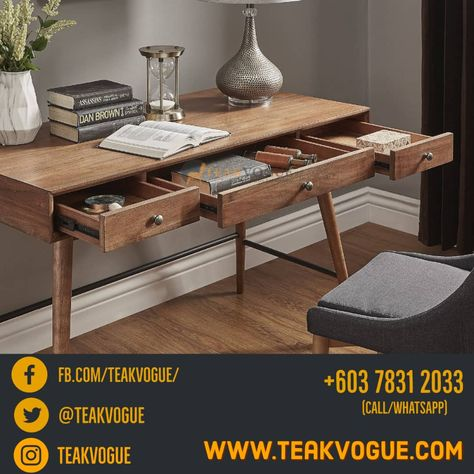 Aveiro Writing Table Modern Teak Wood Writing Desks Malaysia In 2020 Poolside Furniture Indoor Furniture Wood Writing Desk