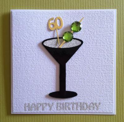 Shaken not stirred 60 handmade male 60th birthday cocktail card