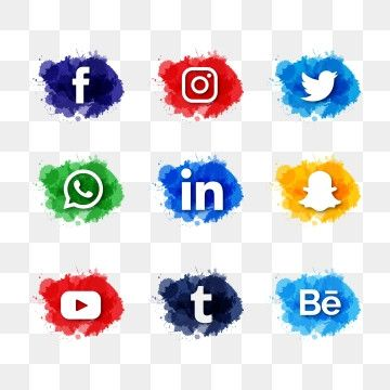Modern Watercolor Slash Social Media Icons Pack Social Media Icon Png And Vector With Transparent Background For Free Download In 2021 Social Media Icons Free Social Media Icons Background Banner