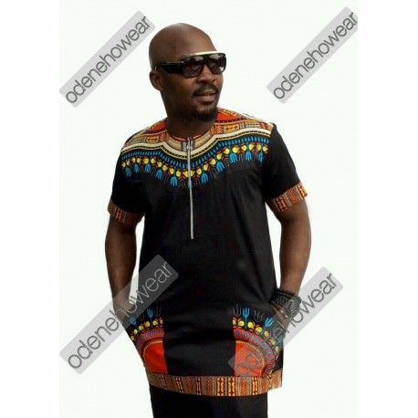 African Clothing Odeneho Wear Men/'s Black Polished Cotton Top With Dashiki