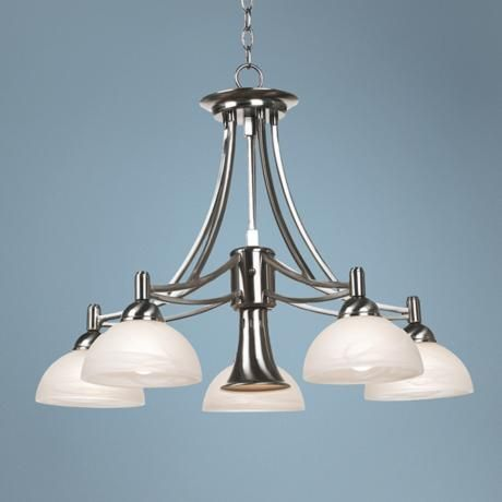Contemporary Brushed Nickel Downlight Chandelier Lampsplus Country House Bathroom Pinterest Chandeliers And Kitchens
