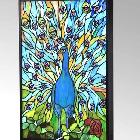 Peacock Led Lighted Glass Wall Art By Dale Tiffany Peacock Wall Art Wall Art Lighting Glass Wall Art