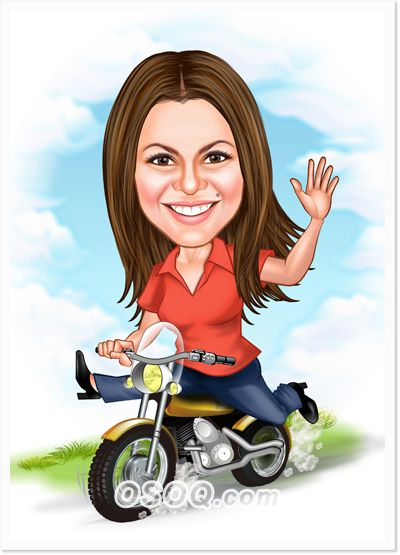 Motorcycle Rider Girl Caricature With Images Caricature Girl