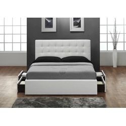 White Queen Size Bed Headboard With Storage Drawers Fully Upholstered In Genuine And Durable Bonded Leather Inclu Pinteres