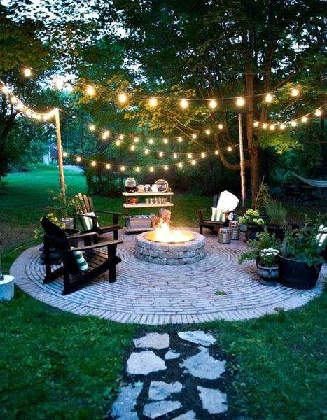 Fire Pit And Le Lights In 2019 Backyard
