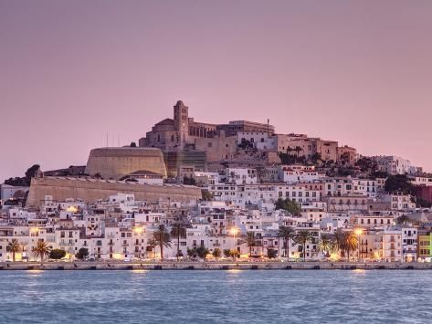 'Spain, Balearic Islands, Ibiza, View of Ibiza Old Town (UNESCO Site), and Dalt Vila' Photographic P