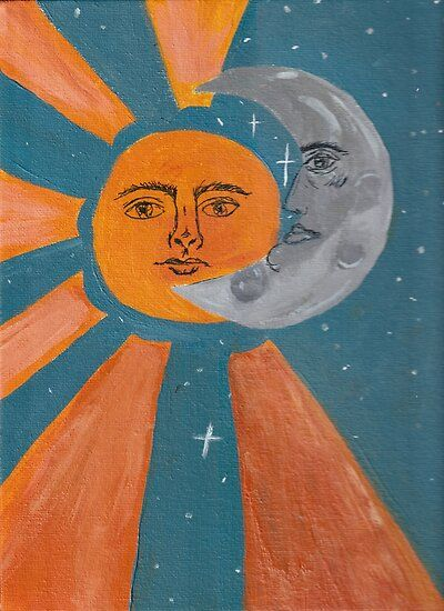 """""""Sun, Moon & All it's Stars"""" Poster by lilacaries Small Canvas Art, Moon Art, Psychedelic Art, Hippie Painting, Simple Canvas Paintings, Hippie Art, Art Collage Wall, Painting Art Projects, Hippie Wallpaper"""
