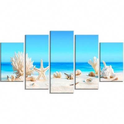 Highland Dunes Seashells On Tropical Beach 5 Piece Wall Art On Wrapped Canvas Set Wayfair In 2020 Canvas Photo Prints Beach Canvas Beach Canvas Art
