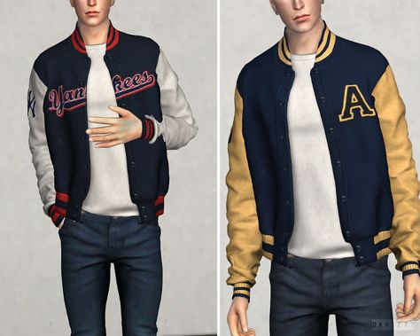 High School Bomber Jacket (P) by for The Sims 4 - NailArts Sims 4 Men Clothing, Sims 4 Male Clothes, Sims 4 Hair Male, Male Clothing, Mods Sims 4, Sims 4 Game Mods, Veronica Lodge Outfits, Sims 4 Teen, Sims Cc