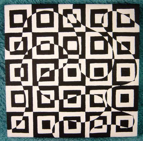 "Stacia-- 6x6"" --Black and White Geometric Square & Swirl Op Art Design OOAK original painting on canvas"