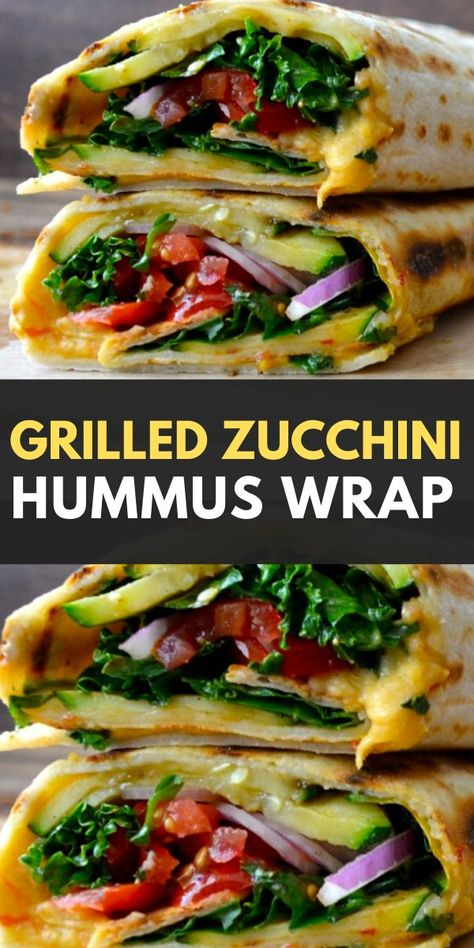 This Grilled Zucchini Hummus Wrap is the BEST vegetarian wrap! Loaded with tender grilled zucchini slices, fresh kale, tomatoes and flavorful hummus! The perfect healthy easy recipe! Recipes for 1 Grilled Zucchini Hummus Wrap Vegetarian Wraps, Tasty Vegetarian Recipes, Easy Healthy Recipes, Whole Food Recipes, Easy Meals, Cooking Recipes, Vegetarian Grilling, Healthy Wraps, Corn Recipes