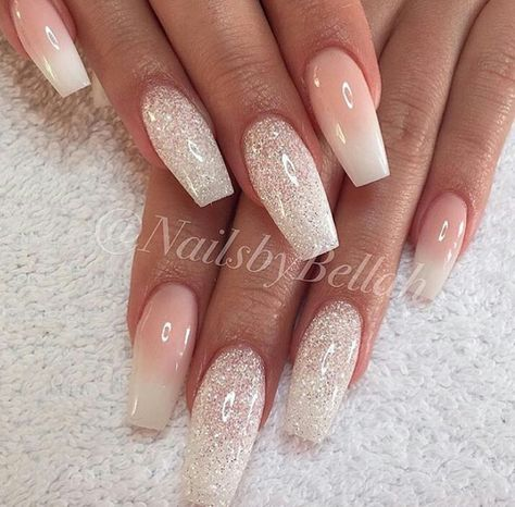 Super clen and simple would be great for a wedding french tip omber glitter nails