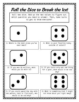 Roll The Dice To Break The Ice First Day Ice Breaker Ice Breaker Games For Adults Ice Breakers Icebreaker Activities