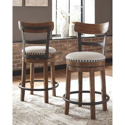 Charlton Home Amador Upholstered Swivel Barstool Colour Brown