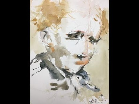 Portrait At 8 Min Mix Media Painting Youtube Aquarelle