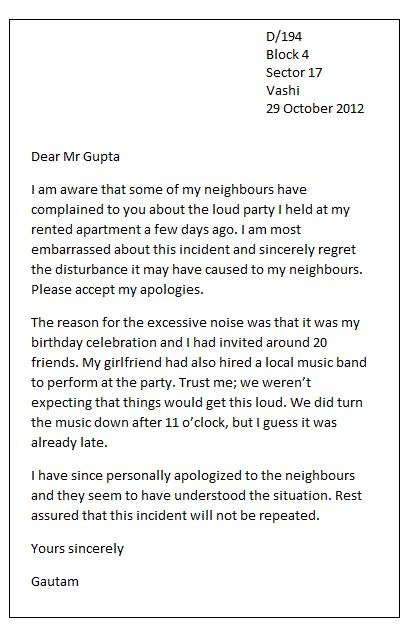 Personal Apology Letter - In case of a friendly or personal apology