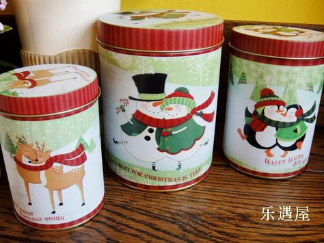 Christmas Tin Cookies.Small Holiday Cookie Tins Christmas Tin Sealed Cookie Jar