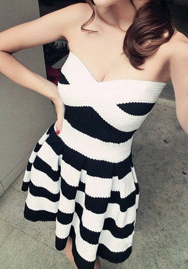 Strapless Black and White Stripe Dress