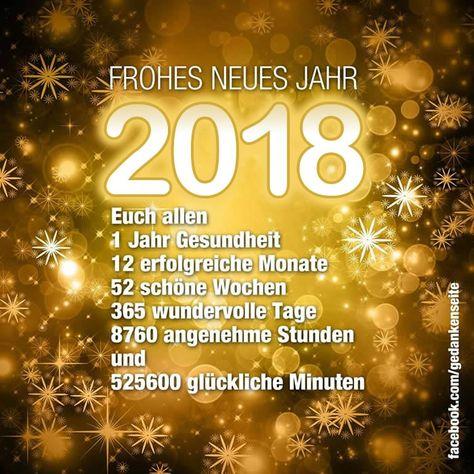 Frohes neues Jahr 2018 Euch allen. Ein Jahr Gesundheit, zwölf erfolgreiche Monate, fünfundzwanzig schöne Wochen, dreihundertfünfundsechszig wundervolle Tage, achttausendsiebenhundertsechszig angenehme Stunde und 525600 glückliche Minuten
