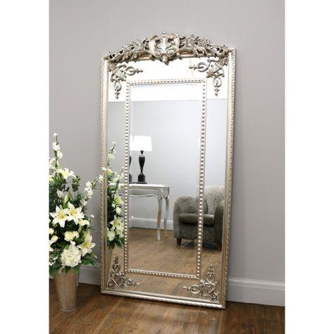 Rosehampton Champagne Silver Ornate Crested Full Length Floor Mirror 72 X 36 183cm X 91cm Full Length Floor Mirror Floor Mirror Ornate Mirror