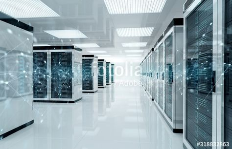 Connection network in servers data center room storage systems 3D rendering , #sponsored, #servers, #data, #Connection, #network, #center #Ad