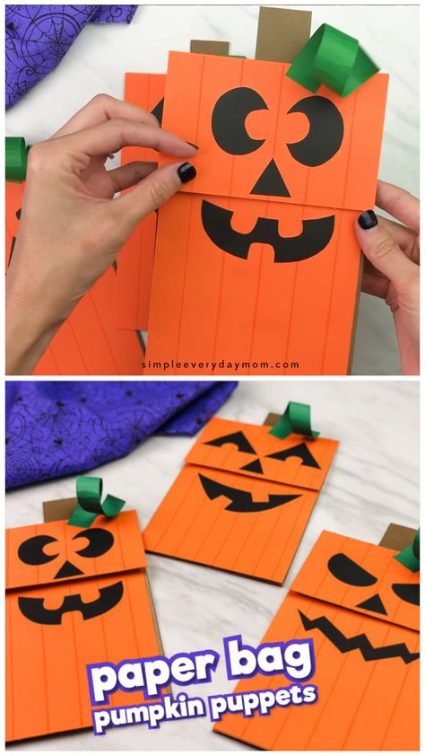 These brown paper bag pumpkin puppets are a fun and easy halloween craft for kids! They're simple to make and come with a free printable template too. Great for using at home or in the classroom with preschool, pre k or kindergarten children.   #simpleeverydaymom #pumpkincrafts #kidscrafts #halloweencrafts #halloween #paperbagcrafts #craftsforkids #kidsactivities #halloweenwithkids #preschoolcrafts #preschoolers #prek #kindergarten