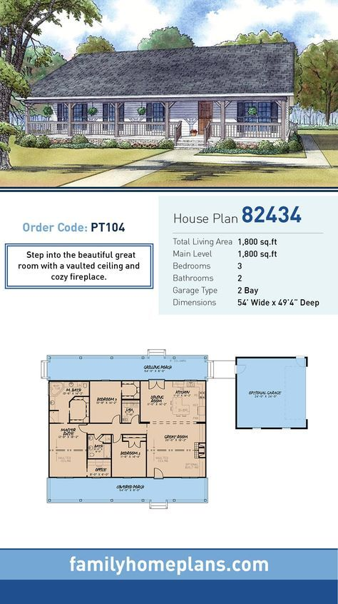 Ranch Style House Plan 82434 With 3 Bed 2 Bath 2 Car Garage Ranch Style House Plans New House Plans House Plans