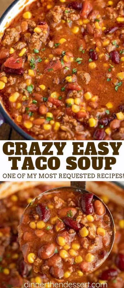 Easy Taco Soup, Easy Soup Recipes, Dinner Recipes, Healthy Recipes, Taco Soup Recipe Easy Crock Pot, Chicken Recipes, Taco Soup With Ranch, Taco Soup Recipe With Ranch Packet, Restaurant Recipes
