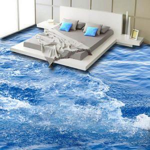 Moderne Einfache 3d Boden Fliesen Tapete Blau Meer Welle Wand Badezimmer Schlafzimmer Nicht Slip Wasserdicht Verdickt Selbst Bodenfliesen 3d Bodenbelag Tapeten