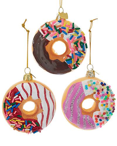 Kurt Adler Set Of 3 Donut Ornaments Donut Ornament Ornaments Ornament Decor