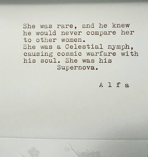 "Typed poem on 5""x4"" stationary ""She was his Supernova..."" -by Poet Alfa by…"